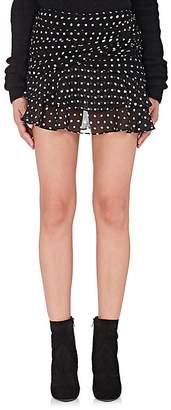 Saint Laurent Women's Polka Dot Gathered Miniskirt