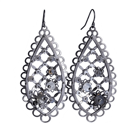 Philip Crangi Black Flower Trellis Earring