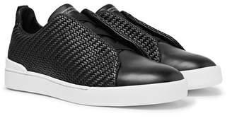 Ermenegildo Zegna Triple Stitch Pelle Tessuta Leather Slip-On Sneakers