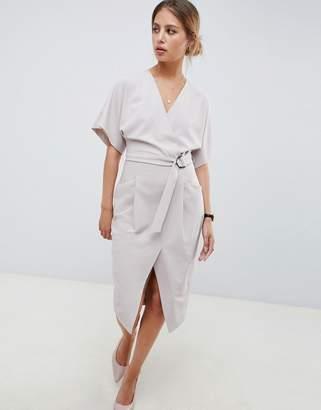 Asos DESIGN wrap skirt midi dress with d ring belt