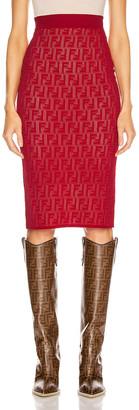 Fendi FF Midi Skirt in Fuchsia | FWRD