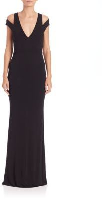 ABS Cutout Jersey Plunging V-Neck Cold Shoulder Gown