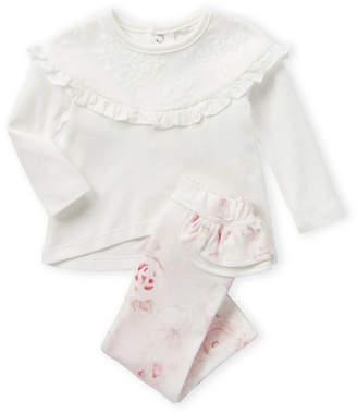 Miniclasix Newborn Girls) Two-Piece Ruffle Long Sleeve Top & Leggings