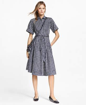 Geometric-Print Cotton Sateen Shirtdress $228 thestylecure.com
