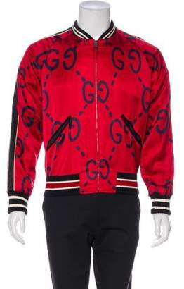 Gucci 2017 Silk-Blend GucciGhost Bomber Jacket