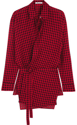 T by Alexander Wang - Plaid Gauze Wrap Shirt - Red $385 thestylecure.com
