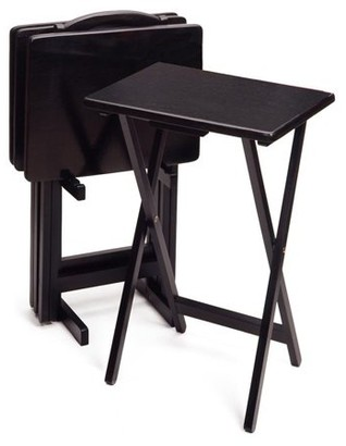Winsome Wood 5-Piece Snack Table Set, Black Finish