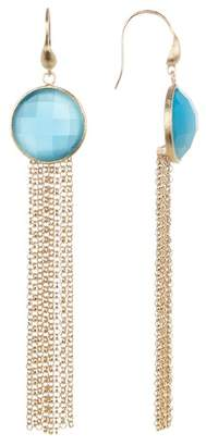Rivka Friedman Blue Cat's Eye Fringe Dangle Earrings