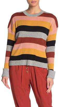 Elodie K Striped Patch Pocket Dolman Pullover Sweater