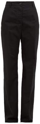 MM6 MAISON MARGIELA High Rise Cotton Wide Leg Trousers - Womens - Black