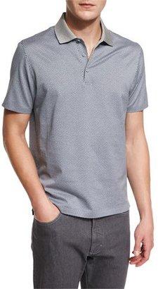 Ermenegildo Zegna Printed Short-Sleeve Polo Shirt, Gray $345 thestylecure.com