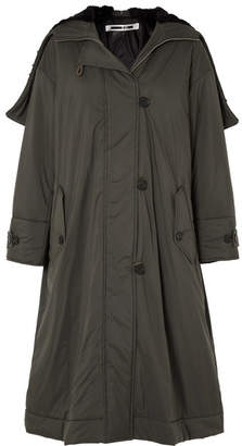 McQ Oversized Hooded Faux Fur-trimmed Shell Parka - Army green
