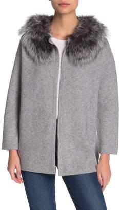 Magaschoni M By Genuine Fox Fur Trim Cashmere Cardigan (Petite)