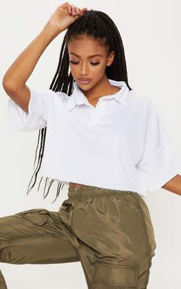 PrettyLittleThing White Collar Polo Short Sleeve Crop Top