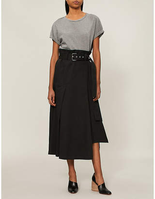 3.1 Phillip Lim Belted cotton-jersey and stretch-cotton midi dress