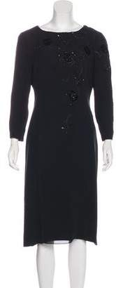 Armani Collezioni Embellished Long Sleeve Dress