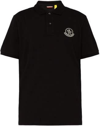Moncler 2 1952 - Logo Applique Cotton Pique Polo Shirt - Mens - Black