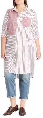 Lauren Ralph Lauren Plus Striped Cotton Shirtdress