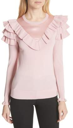 Ted Baker Satin Contrast Ruffle Sweater
