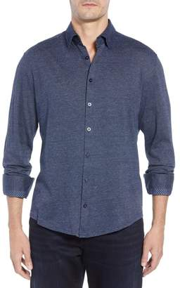 Stone Rose Trim Fit Jacquard Knit Sport Shirt