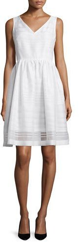 Kate Spade Kate Spade New York Ribbon Organza Fit-And-Flare Dress, Fresh White