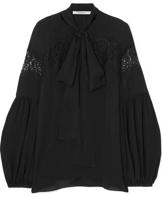 Givenchy Lace-paneled Silk-georgette Blouse - Black
