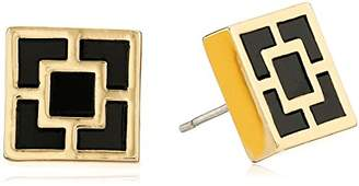 Trina Turk We'll Take Manhattan Black and Gold Tone Enamel Palm Springs Block Stud Earrings