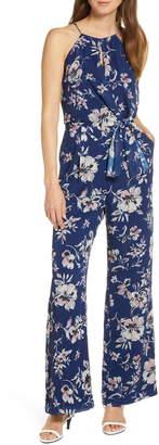 Adelyn Rae Floral Print Wide Leg Jumpsuit