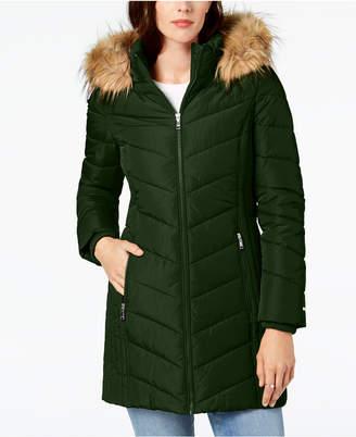 Tommy Hilfiger Faux-Fur-Trim Hooded Chevron Puffer Coat