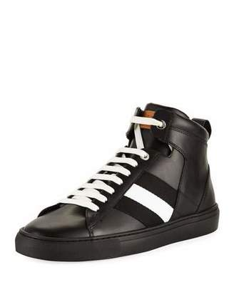 Bally Perforated Vitello High-Top Sneaker w/Trainspotting Stripe, Black $495 thestylecure.com