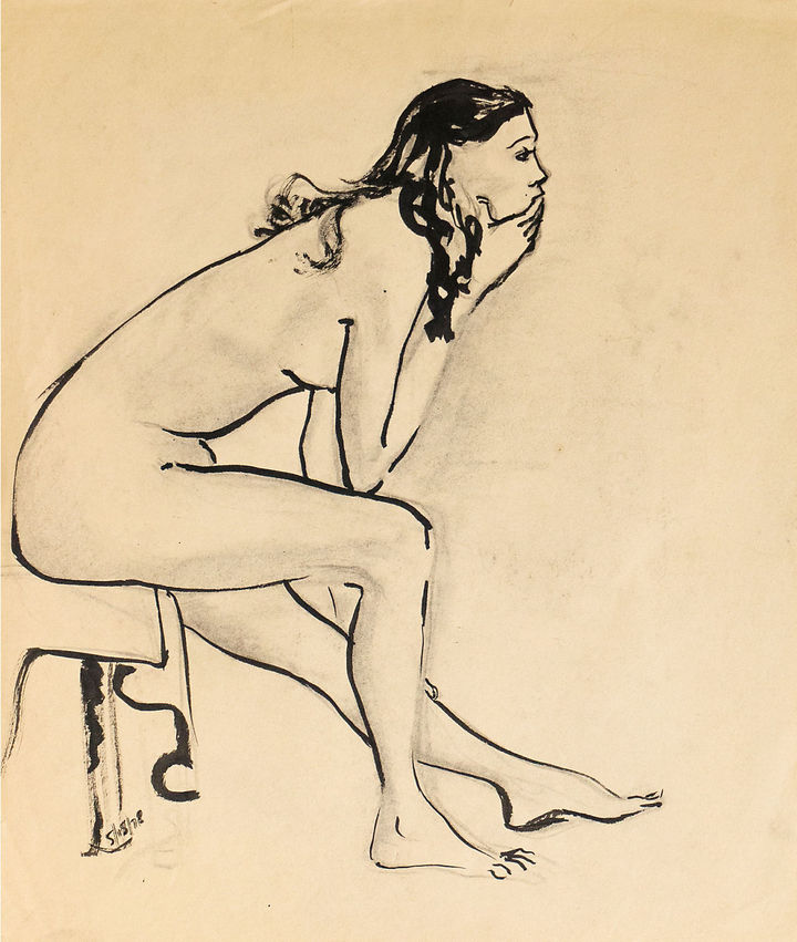 One Kings Lane Vintage Seated Nude by M. Decker, 1978
