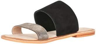 Cream Black Flat Sandals