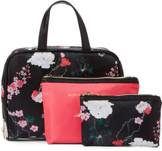 Adrienne Vittadini 3-Piece Dark Floral Cosmetic Bag Set