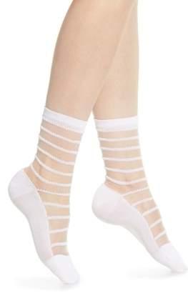 Wolford Isabella Sheer Stripe Crew Socks