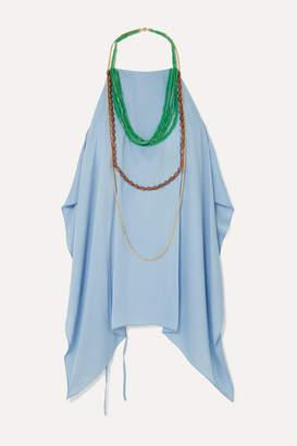 Jacquemus Haut Bijoux Backless Draped Embellished Crepe Halterneck Top - Sky blue
