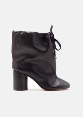 Maison Margiela Soft Leather Drawstring Ankle Boots Black