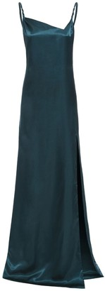 Sarvin Rosie Emerald Twisted Straps Maxi Slip Dress With Side Slit