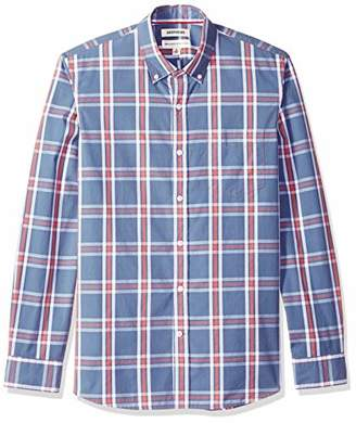 Goodthreads Men's Standard-Fit Long-Sleeve Plaid Poplin Shirt, Denim Multi, Medium