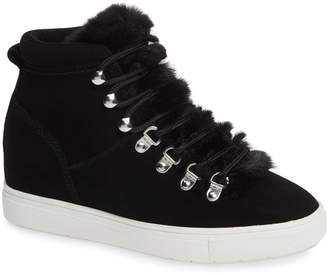 Steve Madden STEVEN BY Kalea-F Hidden Wedge Sneaker with Faux Fur Trim