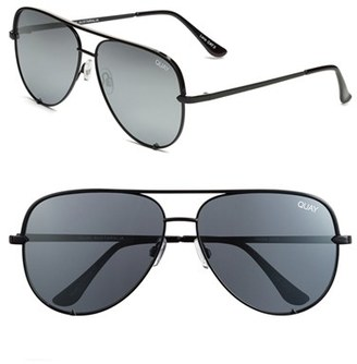 Women's Quay Australia X Desi Perkins 'High Key' 62Mm Aviator Sunglasses - Black/ Silver Mirror $60 thestylecure.com