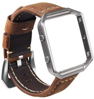 Fitbit Blaze Watch Band, Mignova Resto Genuine Leather Replacement Wrist band strap with Stainless Steel Frame for Blaze Smart Fitness Watch (Brown Band + Silver Frame)