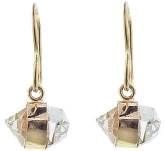 Melissa Joy Manning Herkimer Diamond Bezel Wrap Drop Earrings Yellow Gold