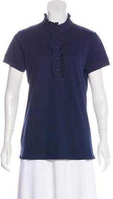 Neiman Marcus Short Sleeve Button-Up Top