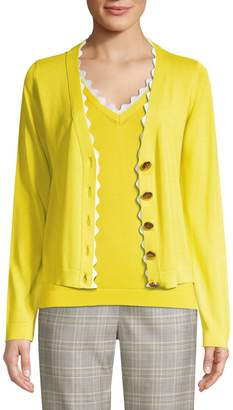 Escada Srilan Scalloped V-Neck Cardigan