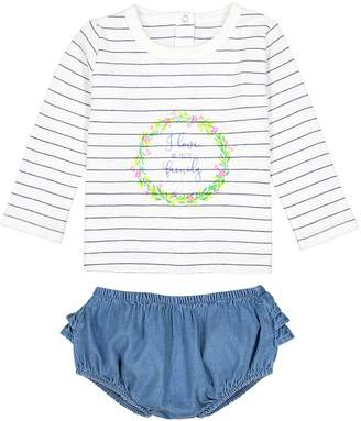 La Redoute COLLECTIONS Striped T-shirt and Bloomer Outfit, Birth-3 Years