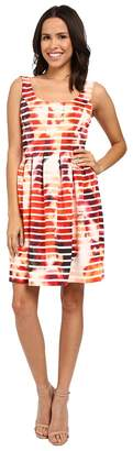 Jessica Simpson Printed Scuba Fit and Flare Women's Dress