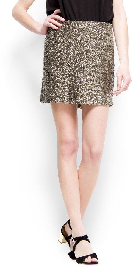 MANGO Sequin mini skirt