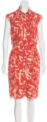 Oscar de la Renta Silk Printed Dress Coral Silk Printed Dress