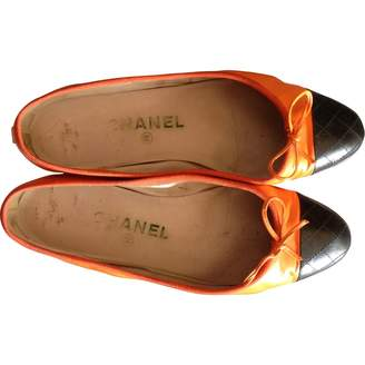 Chanel Orange Leather Ballet flats