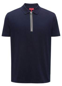 HUGO Boss Polo shirt in interlock cotton contrast zipper detail M Dark Blue